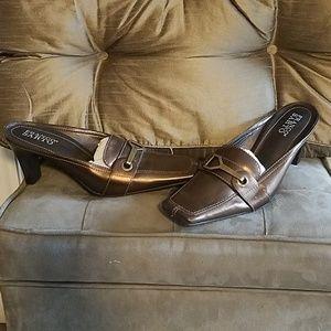 Franco Sarto Leather Mules Clogs Bronze Brown 8.5